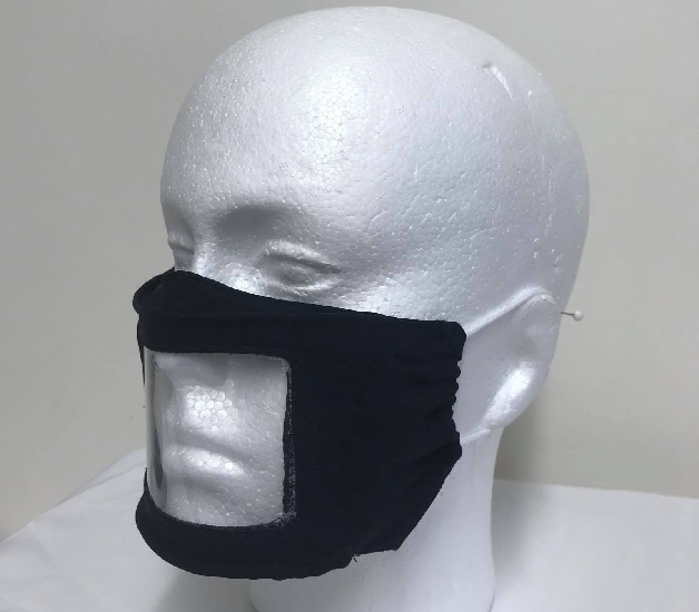 Navy Extended Clear Window Face Mask Lip Reading Face mask Image