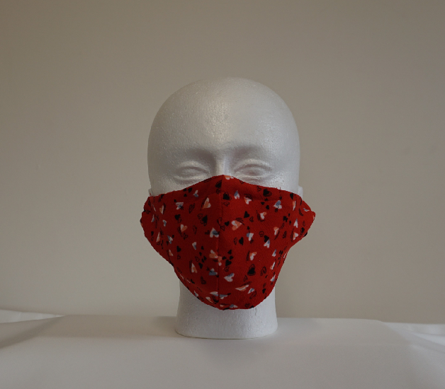 Red Heart Pattern Fabric Face Mask Image