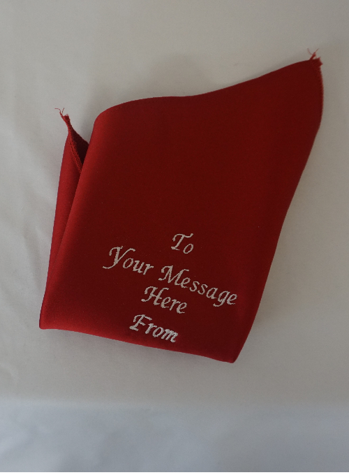 Personalised Message Handkerchief in Red and White Image