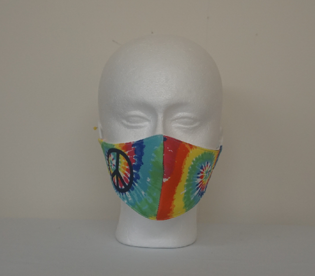 Rainbow Tie-Dye with Peace Sign Digital Print Face Mask Image