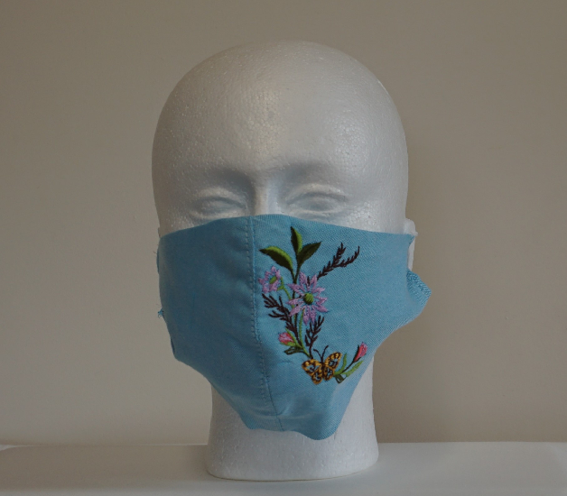 Denim Cotton Fabric Face Mask with Embroidery Image